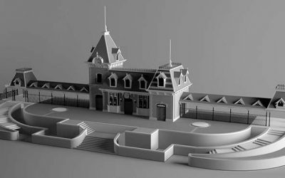 Study: Disneyland's Main Street U.S.A. Train Station Grey Model Renders