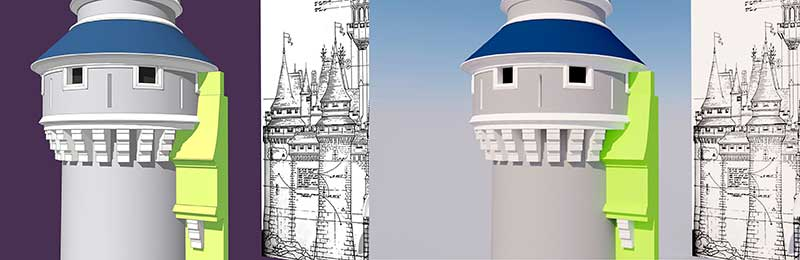 Walt Disney World - Cinderella Castle - 3D Model - Curtain Wall and Towers #1 & 2