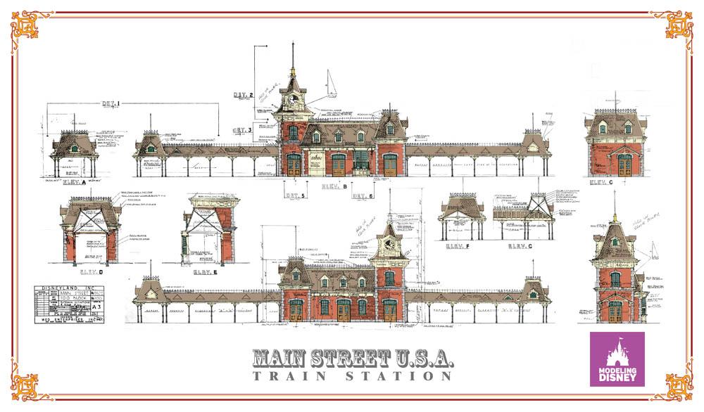 Coloring the Disneyland Main Street Train Station Blueprint