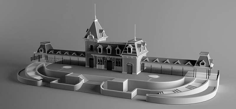 Study: Disneyland's Main Street U.S.A. Train Station Grey Model Renders