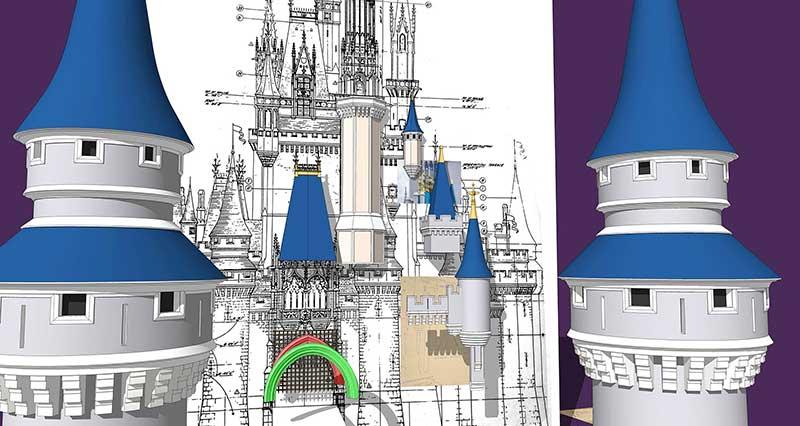 Walt Disney World - Cinderella Castle - 3D Model - Towers #1 & 2