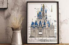 Walt Disney World's Cinderella Castle Colored Blueprint